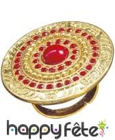 Large bague romaine ronde dorée et rouge, image 2