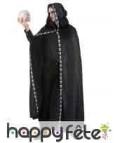 Longue cape à capuche noir liseret squelette, image 1