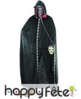 Longue cape à capuche noir liseret squelette, image 5