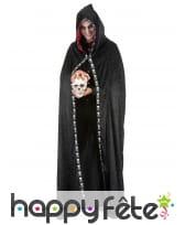 Longue cape à capuche noir liseret squelette