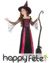 Long costume de petite sorcière noir et rose, image 1