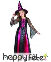 Long costume de petite sorcière noir et rose, image 3