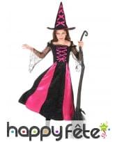 Long costume de petite sorcière noir et rose