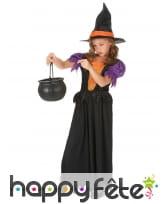 Long costume de petite sorcière noire et orange, image 1