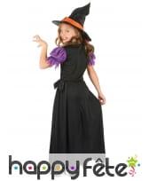 Long costume de petite sorcière noire et orange, image 2
