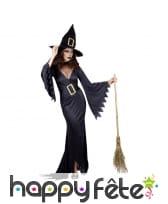 Long costume de sorcière noire adulte