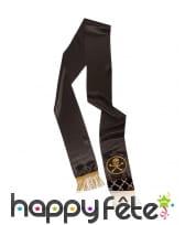 Large ceinture noire de pirate avec franges dorées, image 1