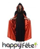 Longue cape noire doublée rouge satiné pour adulte