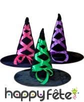Long Chapeau pointu de sorcière avec ruban coloré