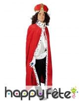 Longue cape rouge de roi pour adulte