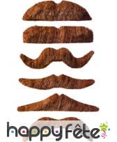 Lot de 12 moustaches chatain clair auto-adhésives