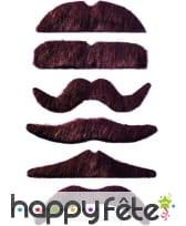 Lot de 12 moustaches chatain fonce auto-adhésives