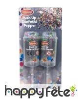 Lot de 2 canons à confettis multicolores, 17,5 cm