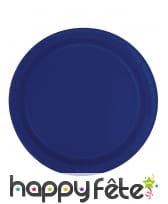 Lot de 20 assiettes bleu foncé en carton de 18 cm