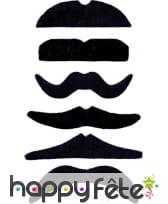 Lot de 24 moustaches noire auto-adhésives