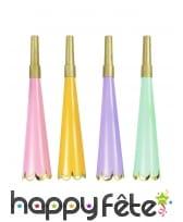 Lot de 4 Trompettes cotillon colorées