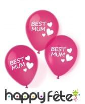 Lot de 6 ballons rose Best Mum de 27,5 cm