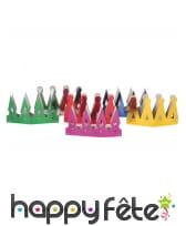 Lot de 6 couronnes multicolores en carton