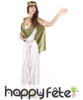 Long déguisement blanc de déesse, toge verte, image 1