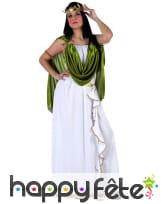 Long déguisement blanc de déesse, toge verte, image 3