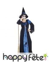Long déguisement bleu de sorcière pour fille