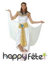 Long déguisement d'égyptienne blanc et doré