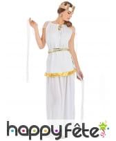 Long déguisement de déesse grecque blanche
