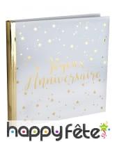 Livre d'or Joyeux Anniversaire, blanc et doré