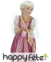 Longue de perruque blonde avec tresse pour enfant