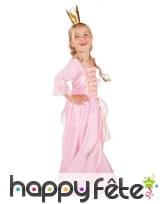 Long déguisement rose uni de princesse pour fille