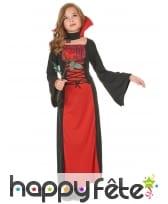 Long déguisement rouge noir de petite vampiresse