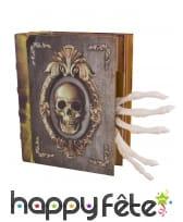 Livre de sorcier animé avec main squelette 16x20cm