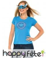 Loup et T-shirt à strass de Captain America, femme