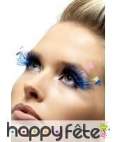 Longs faux cils bleus avec plumes colorées
