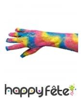 Longs gants en dentelle multicolore