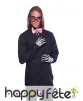 Lunettes, gants et noeud papillon Halloween homme