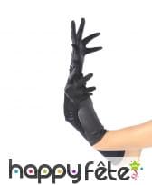 Longs gants satinés noirs élastiques, 45cm