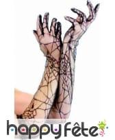Longs gants transparents style toile d'araignée