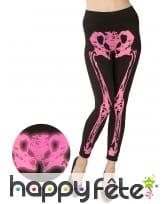 Legging noir avec jambes squelettes rose fluo, image 2