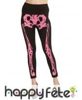 Legging noir avec jambes squelettes rose fluo