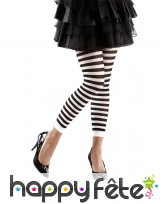 Legging noir et blanc rayé sans pieds