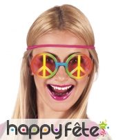 Lunettes peace and love dégradé multicolore