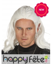 Longue perruque blanche de Elfe, adulte