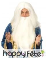 Longue perruque blanche de sorcier avec barbe, image 1