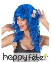 Longue perruque bleu foncé ondulée