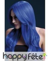 Longue perruque bleue ondulée de 66cm