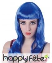 Longue perruque bleue unie à frange, image 1