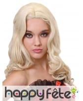 Longue perruque blonde bouclée, luxe, image 3