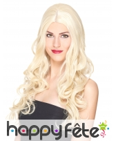 Longue perruque blonde bouclée, luxe