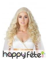 Longue perruque blonde bouclée pour femme, luxe
